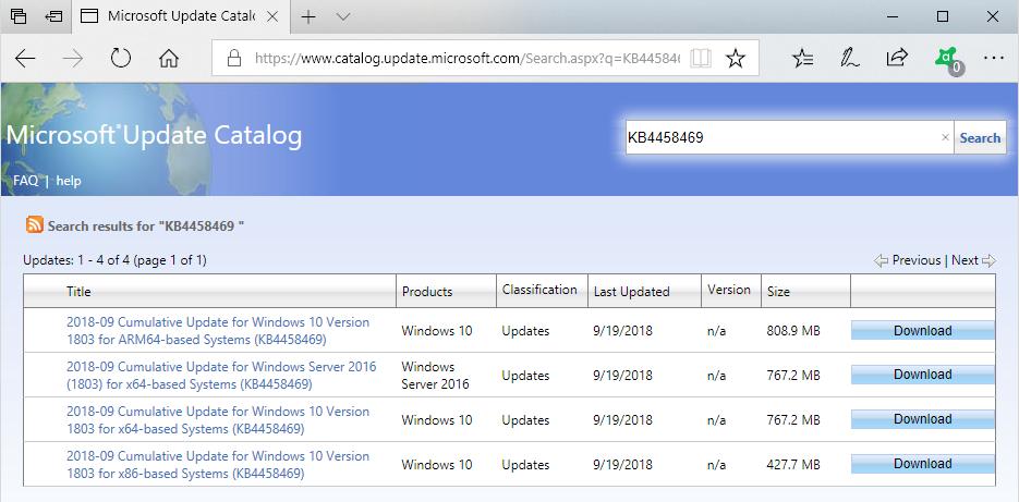 KB4458469 windows 10 update