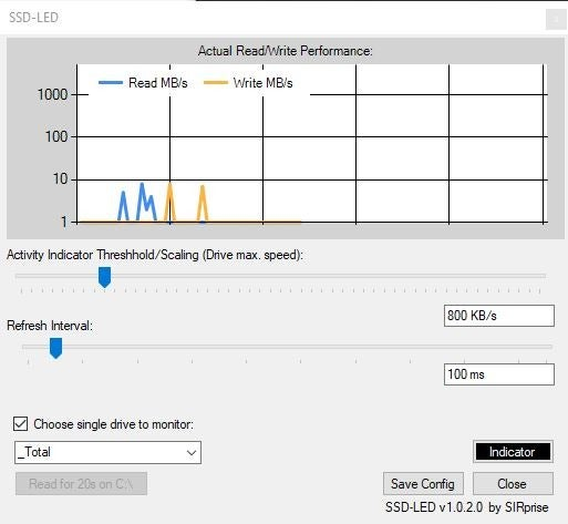 SSD-LED is a free drive activity indicator and read-write speed monitor for Windows