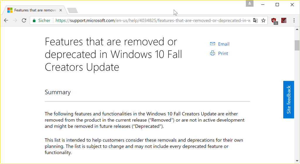 windows 10 fall creators update removed features